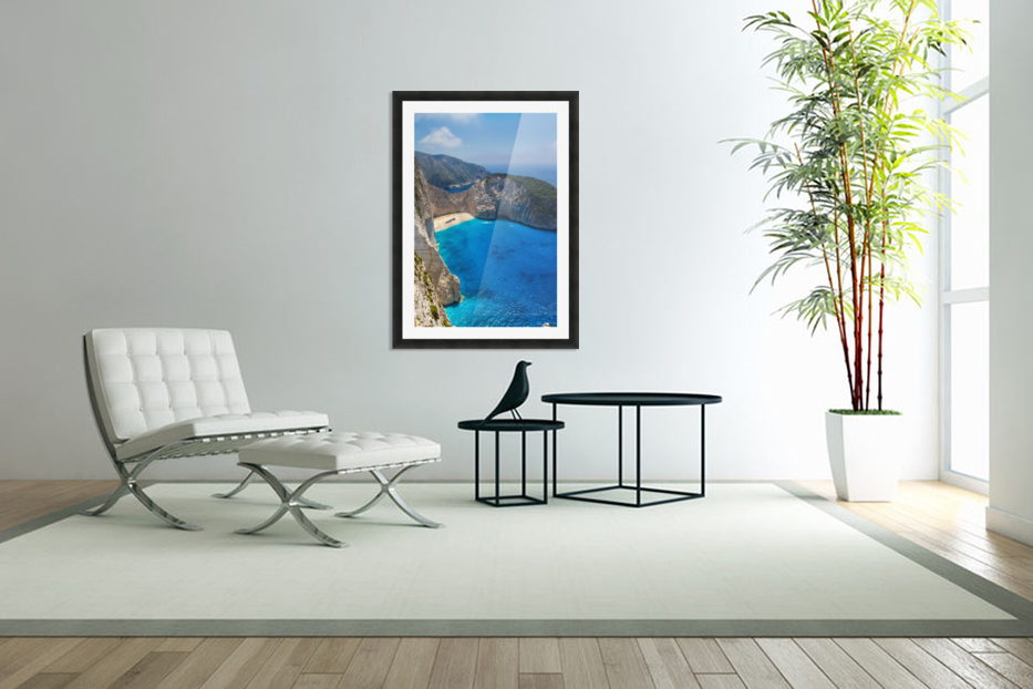 Navagio beach with shipwreck and flowers on Zakynthos island in Greece in Custom Picture Frame