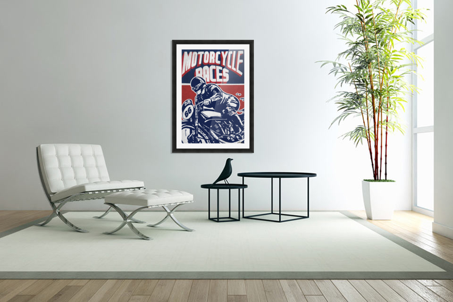 Motorcycle Racing Vintage Poster in Custom Picture Frame