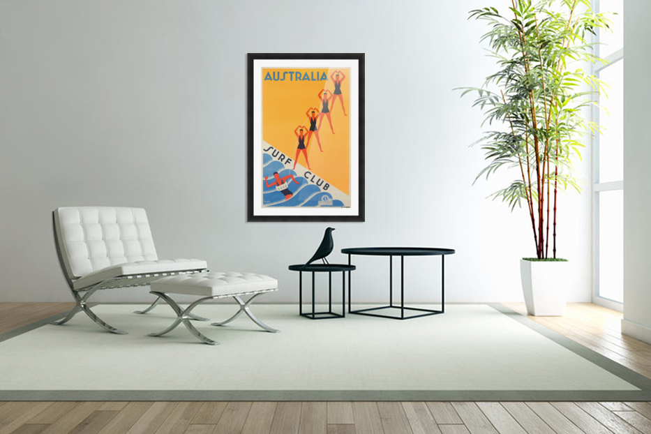 Australia Surf Club poster in Custom Picture Frame