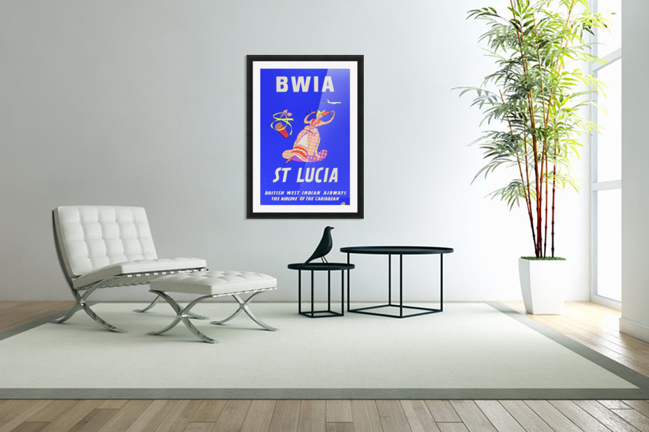 BWIA St Lucia original travel poster in Custom Picture Frame