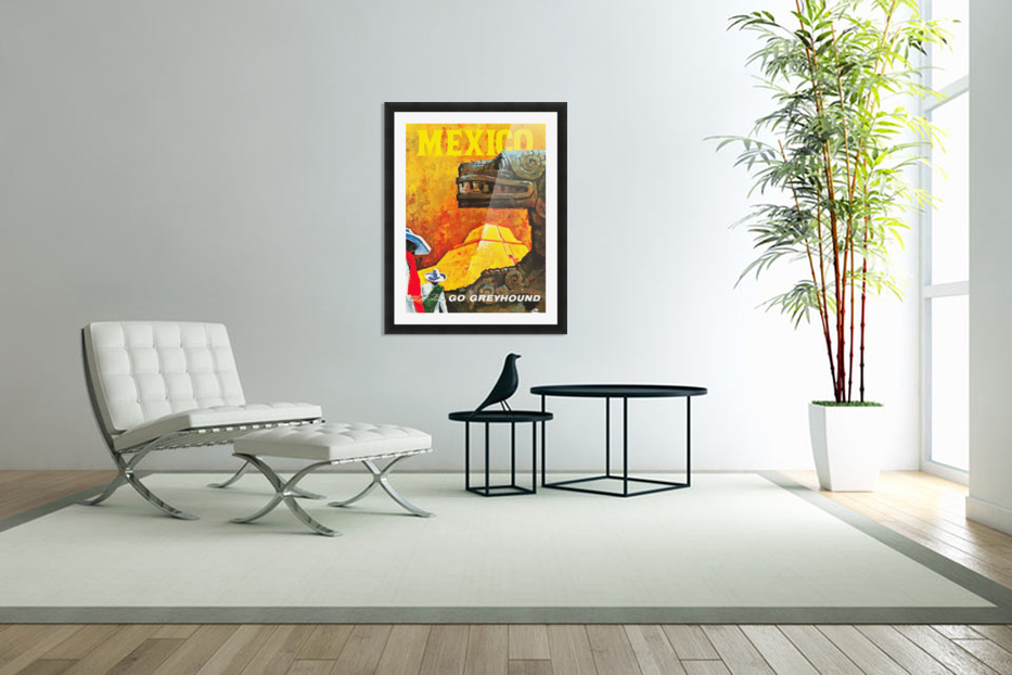 Mexico Go Greyhound Travel Poster in Custom Picture Frame