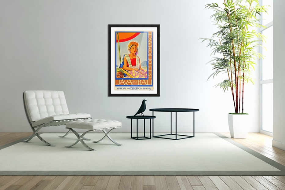 Java and Bali travel poster in Custom Picture Frame