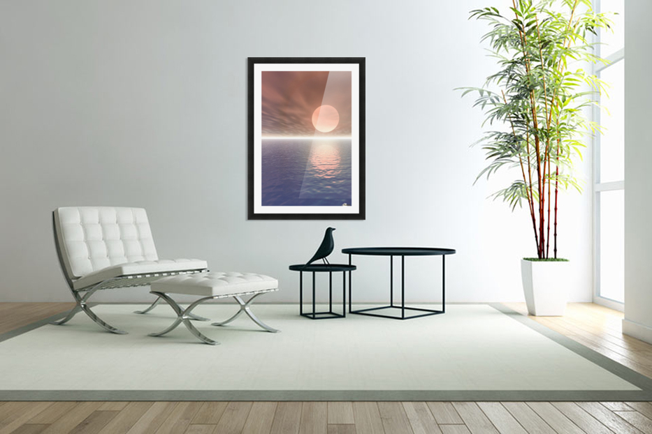 Illustrated Sun Over A Seascape in Custom Picture Frame