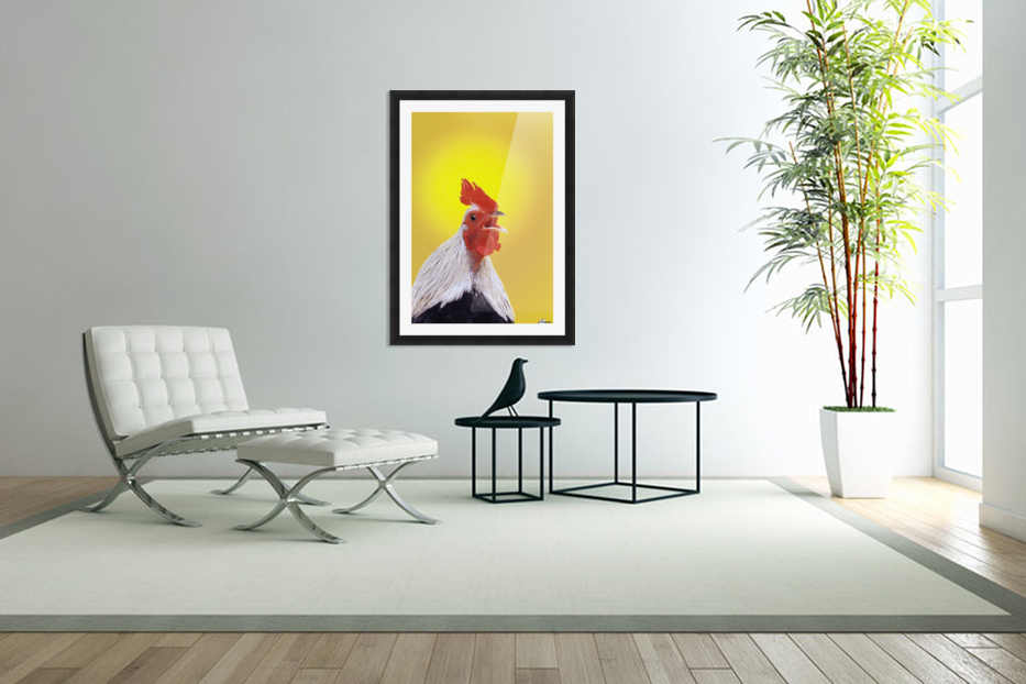 Crowing rooster;British columbia canada in Custom Picture Frame