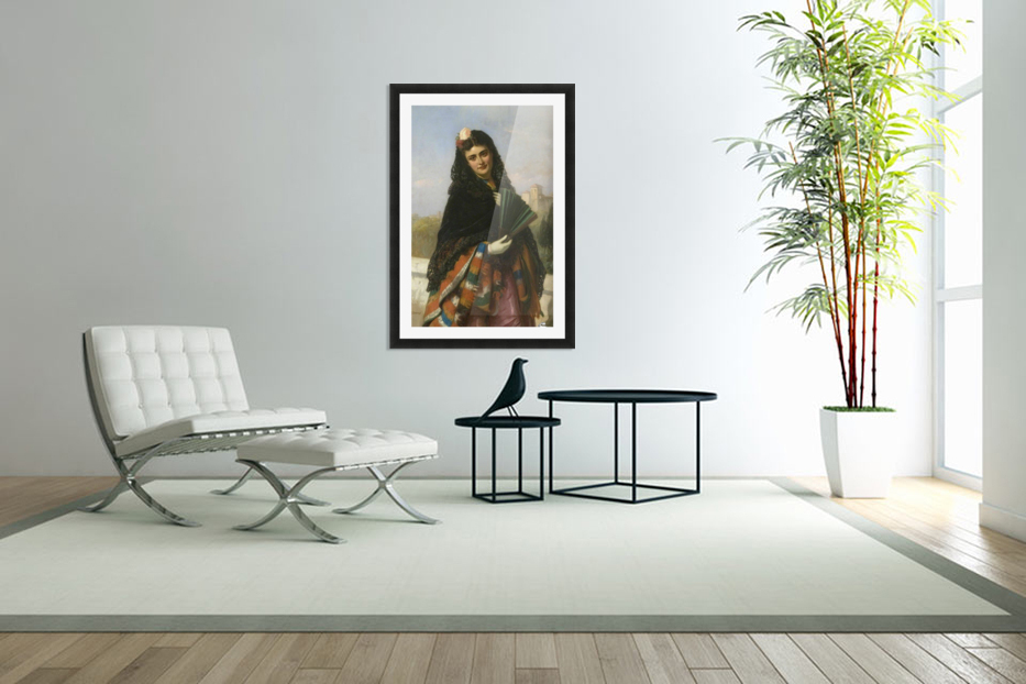 Spanish lady with a fan in Custom Picture Frame