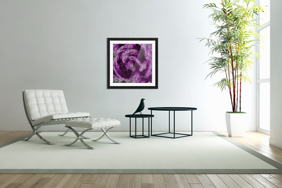 psychedelic geometric painting abstract in pink purple white and black in Custom Picture Frame