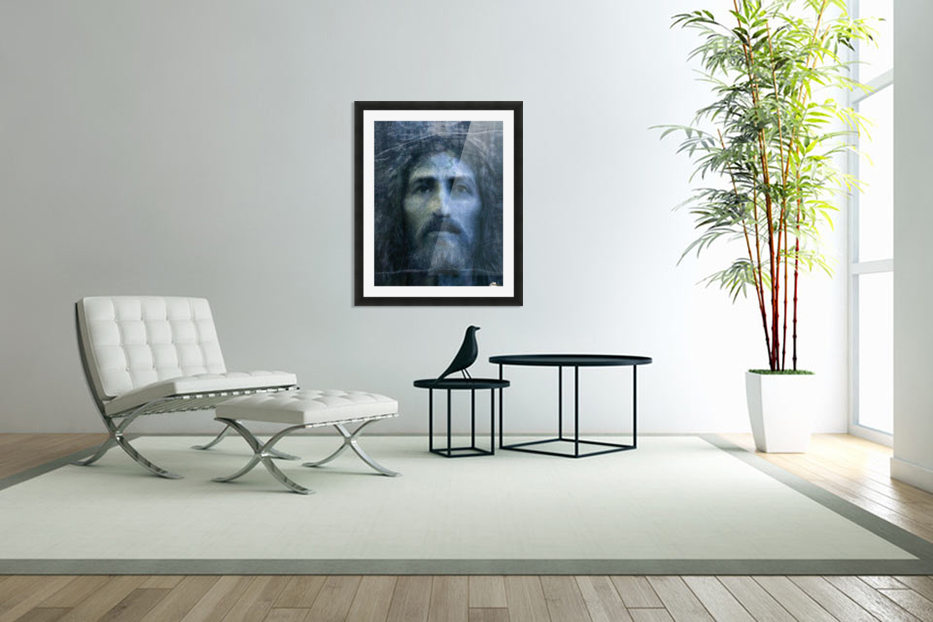Christ face reconstruction blue in Custom Picture Frame