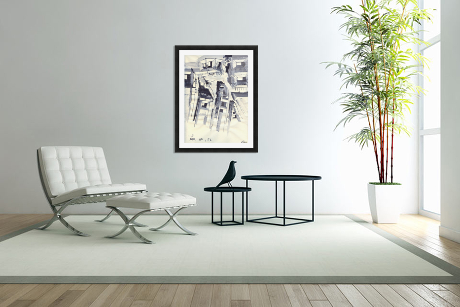 Architectural view in birdeye Indian ink in Custom Picture Frame