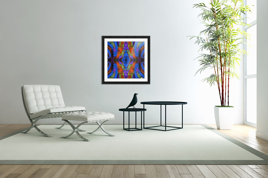 psychedelic graffiti geometric drawing abstract in blue purple orange yellow brown in Custom Picture Frame
