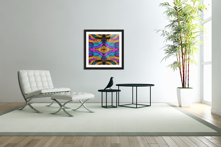 psychedelic graffiti geometric drawing abstract in pink orange blue in Custom Picture Frame