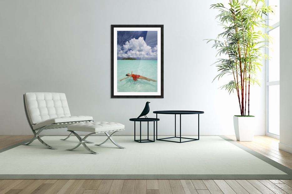 French Polynesia, Woman Floating In Ocean Water. in Custom Picture Frame