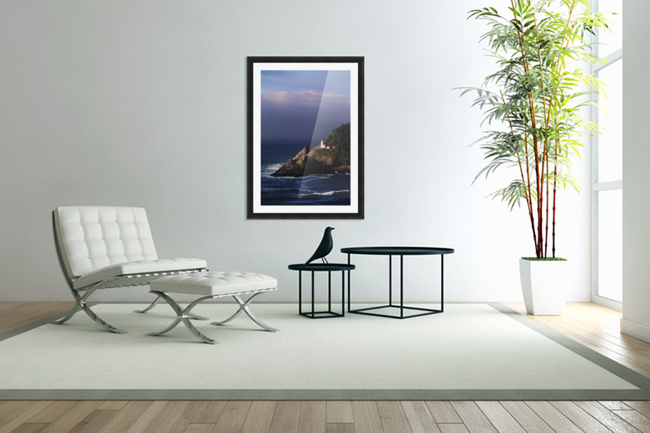 Oregon, Devils Elbow State Park, Heceta Head Lighthouse Overlooking Ocean And Waves. in Custom Picture Frame