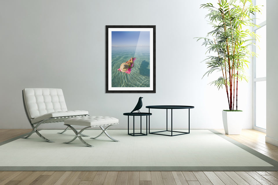 French Polynesia, Tahiti, Moorea, Woman Floating In Water. in Custom Picture Frame
