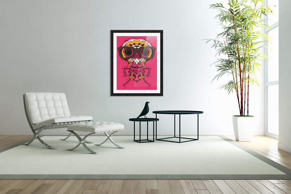 funny skull and bone graffiti drawing in orange brown and pink in Custom Picture Frame