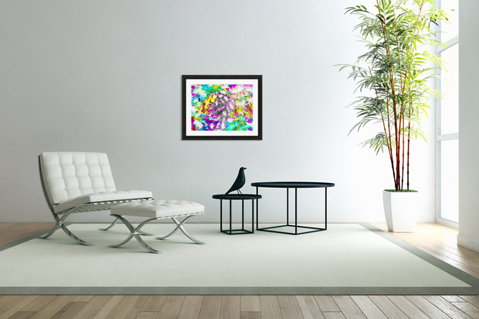 psychedelic splash painting abstract in pink blue yellow green purple in Custom Picture Frame