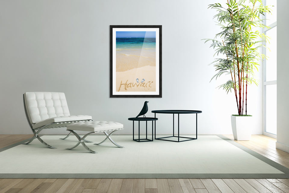 USA, Hawaii, Ocean in background; Kailua, Flipflops and Hawaii written in sand in Custom Picture Frame