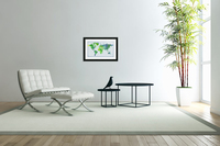 Watercolor Silhouette World Map Peaceful Green   Acrylic Print