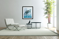 Watercolor Giant Turtle In Abstract Seaweed And Water XI  Acrylic Print
