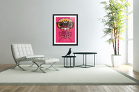 funny skull and bone graffiti drawing in orange brown and pink  Acrylic Print