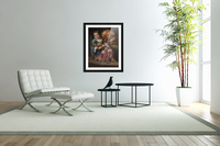 An old lady with little girl and kitty  Acrylic Print