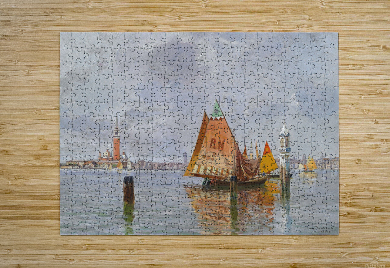 Fishing boats in Venetian lagoon  Impression métal HD avec cadre flottant sur le dos