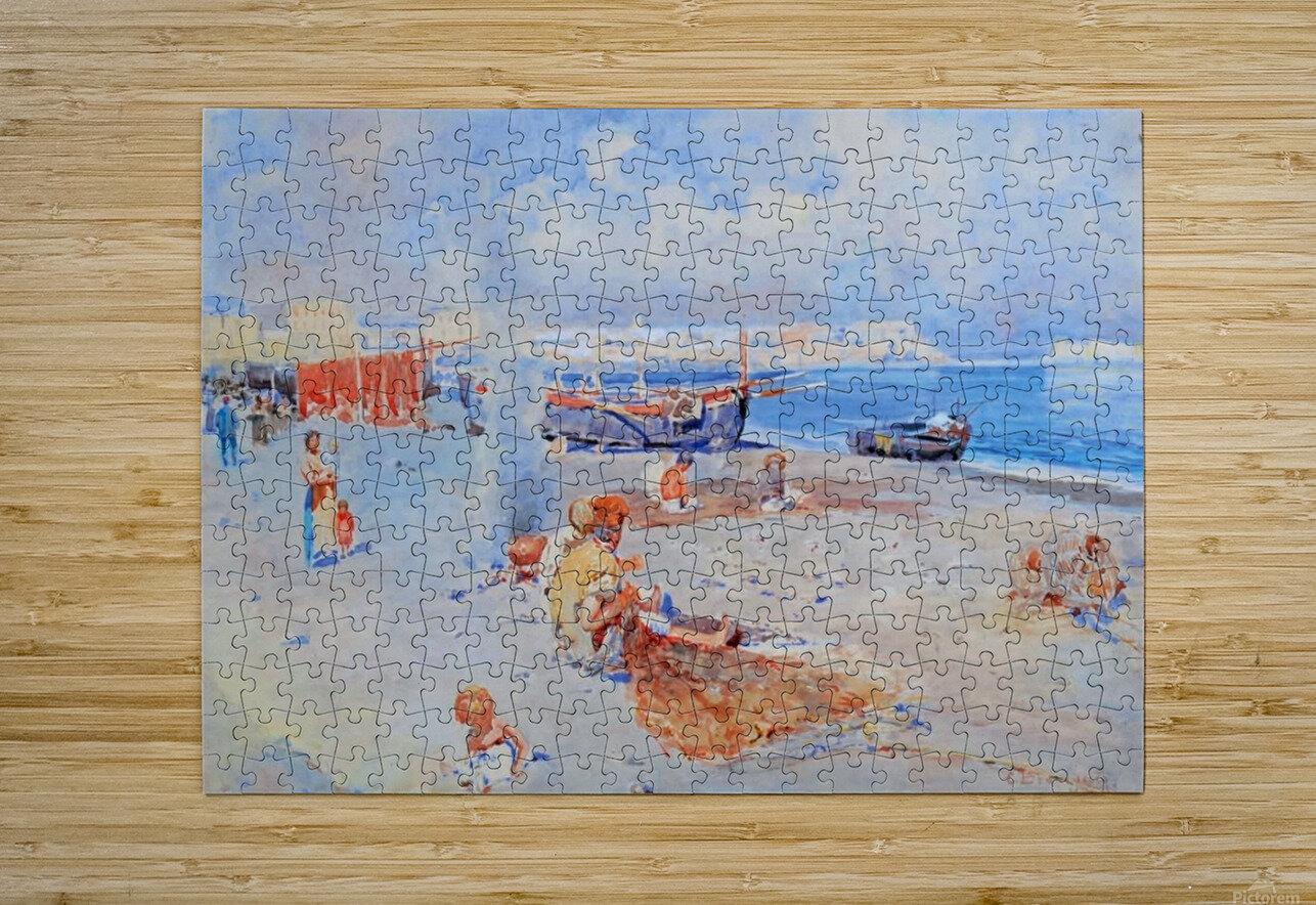 Beach of Mergellina  Impression métal HD avec cadre flottant sur le dos