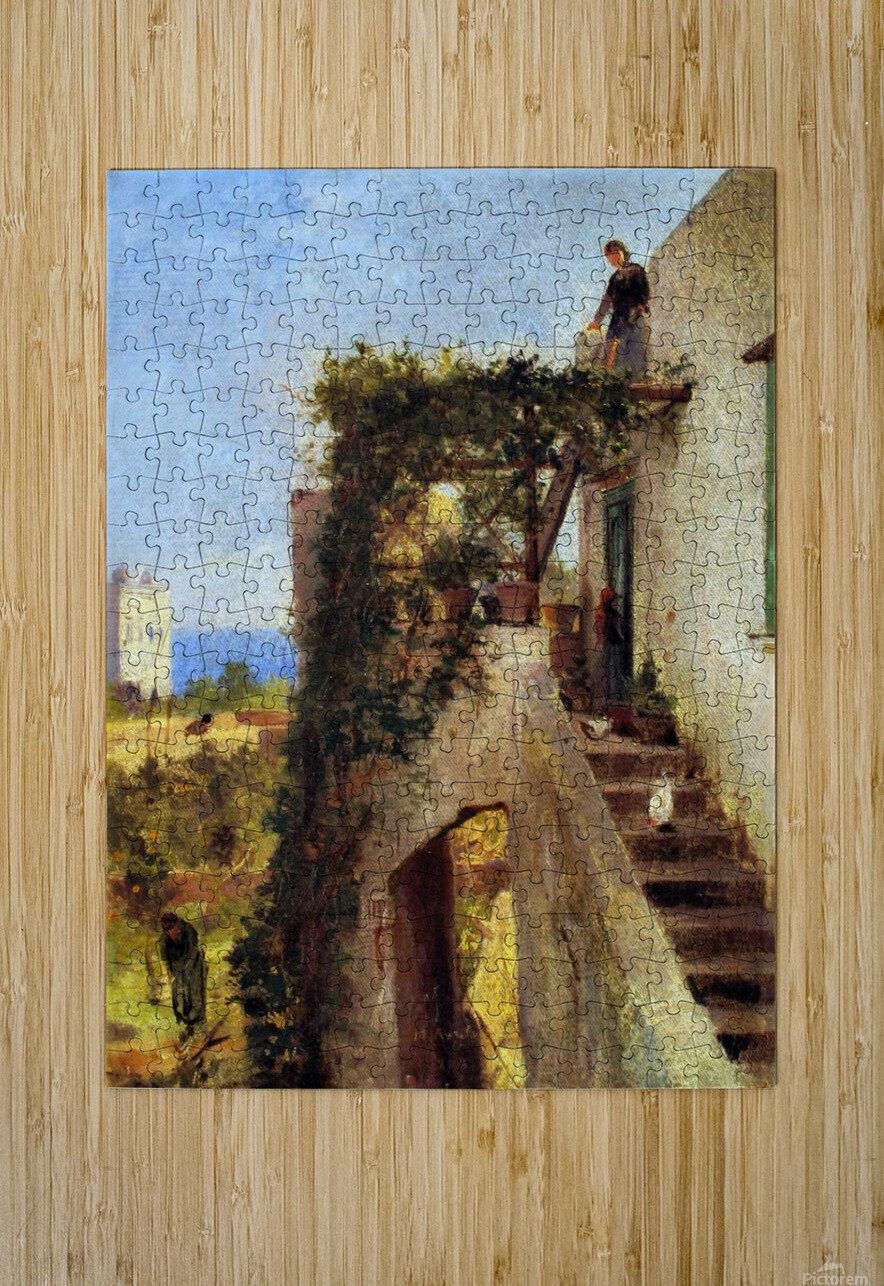 Old cottage with figures  Impression métal HD avec cadre flottant sur le dos