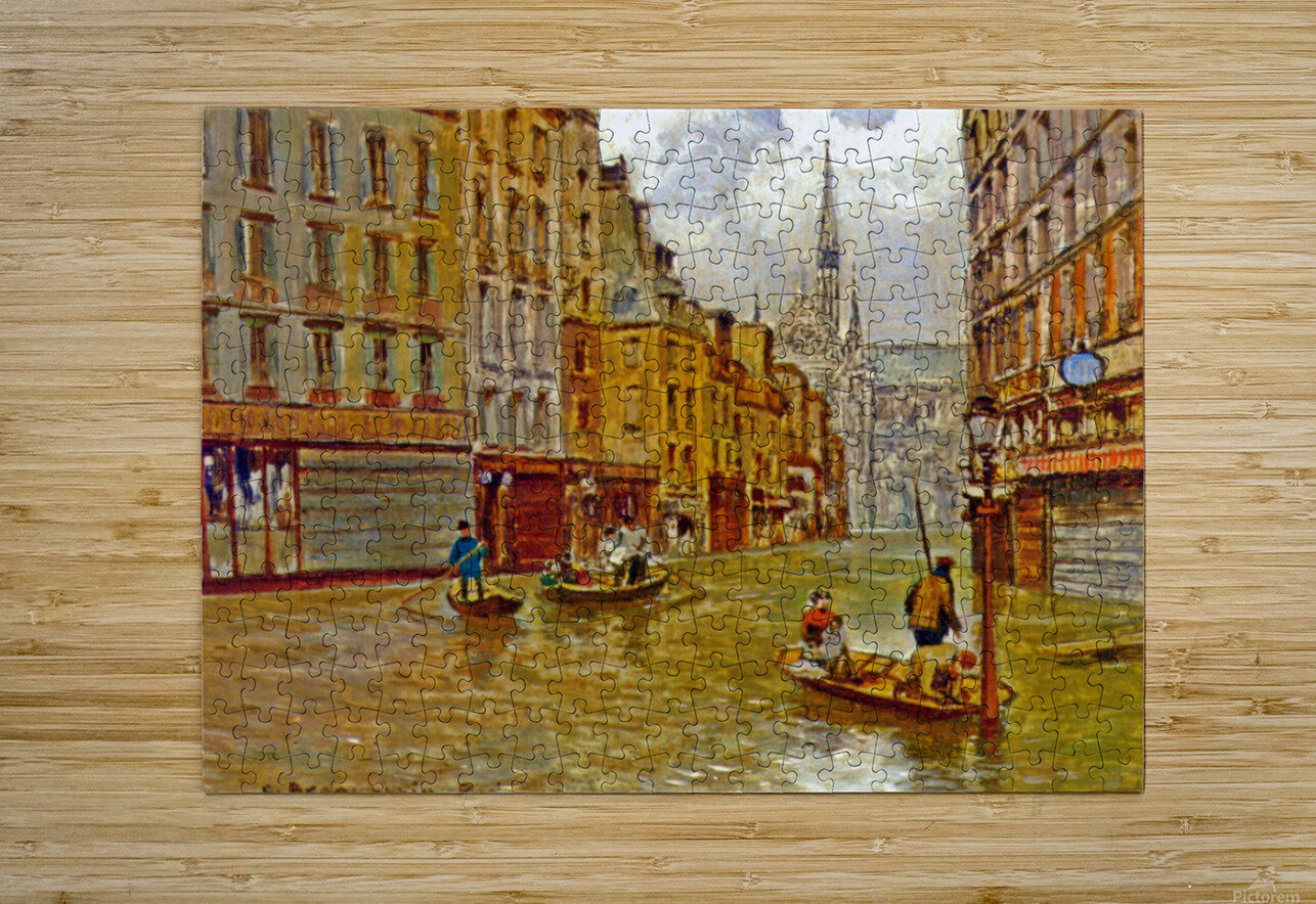 Street in Paris during Flood of 1910  Impression métal HD avec cadre flottant sur le dos