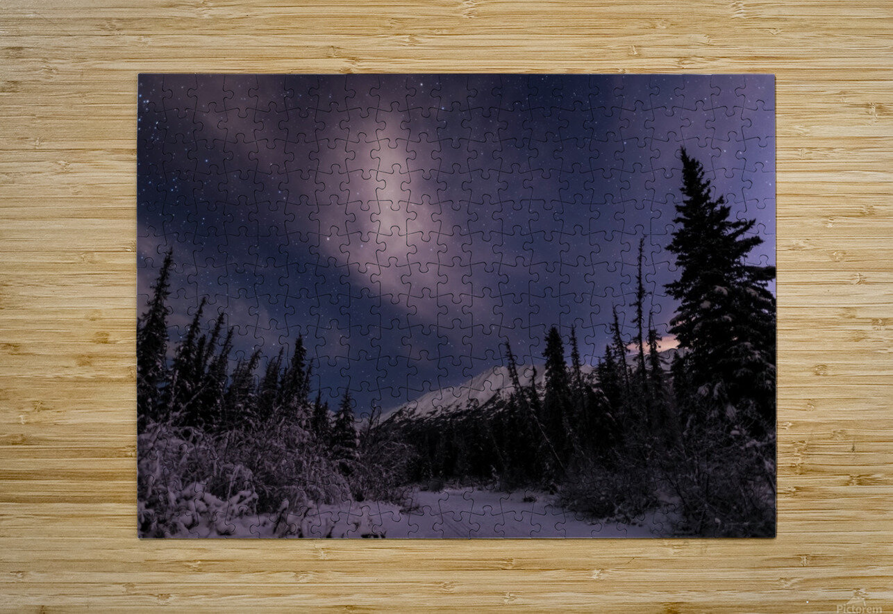 Night skies above Chugach Mountains and Eagle River Valley on winter solstice in South-central Alaska; Alaska, United States of America  HD Metal print with Floating Frame on Back
