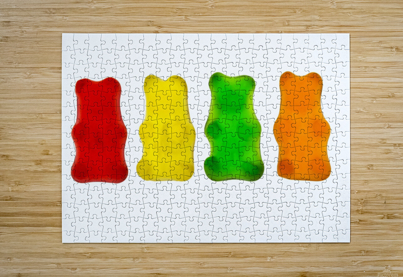 Colourful candied gummy bears in a row backlit; Calgary, Alberta, Canada  HD Metal print with Floating Frame on Back