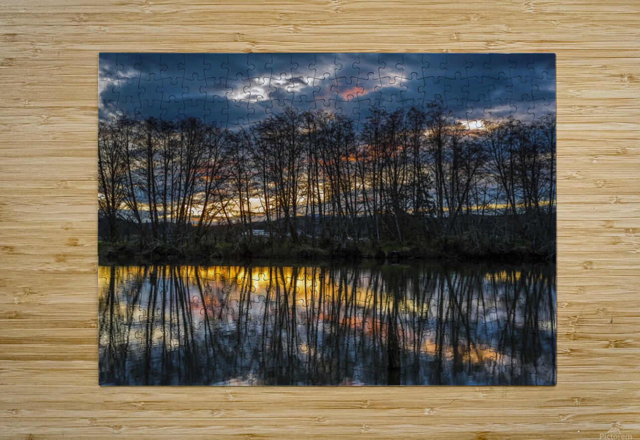 The sun rises along the Lewis and Clark River; Astoria, Oregon, United States of America  HD Metal print with Floating Frame on Back
