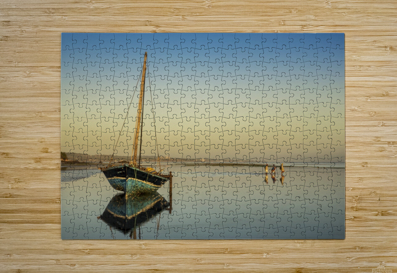 Dhow in low tide; Pemba, Cabo Delgado, Mozambique  HD Metal print with Floating Frame on Back