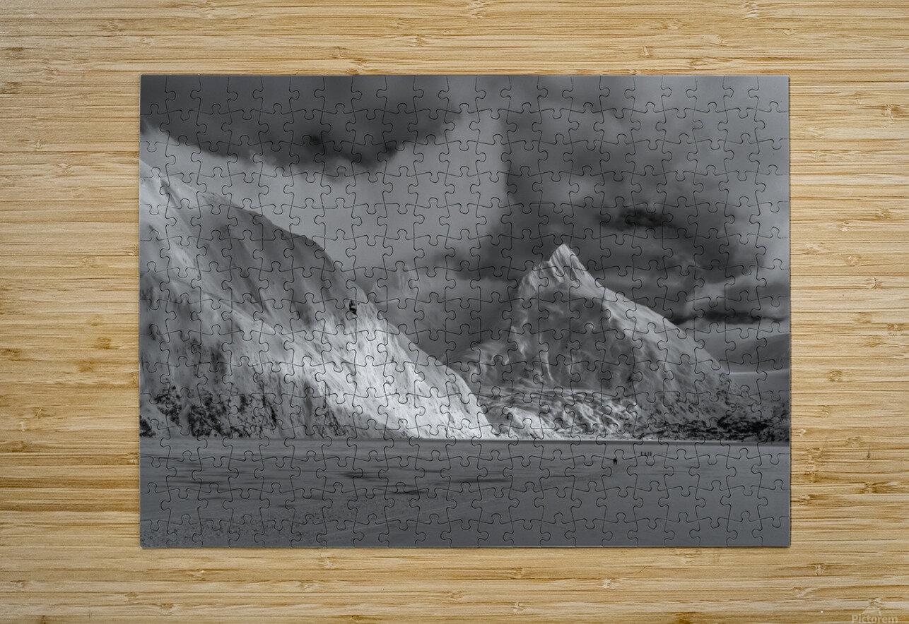 Hikers make the trek to Portage Glacier on Portage Lake in winter, South-central Alaska; Alaska, United States of America  HD Metal print with Floating Frame on Back