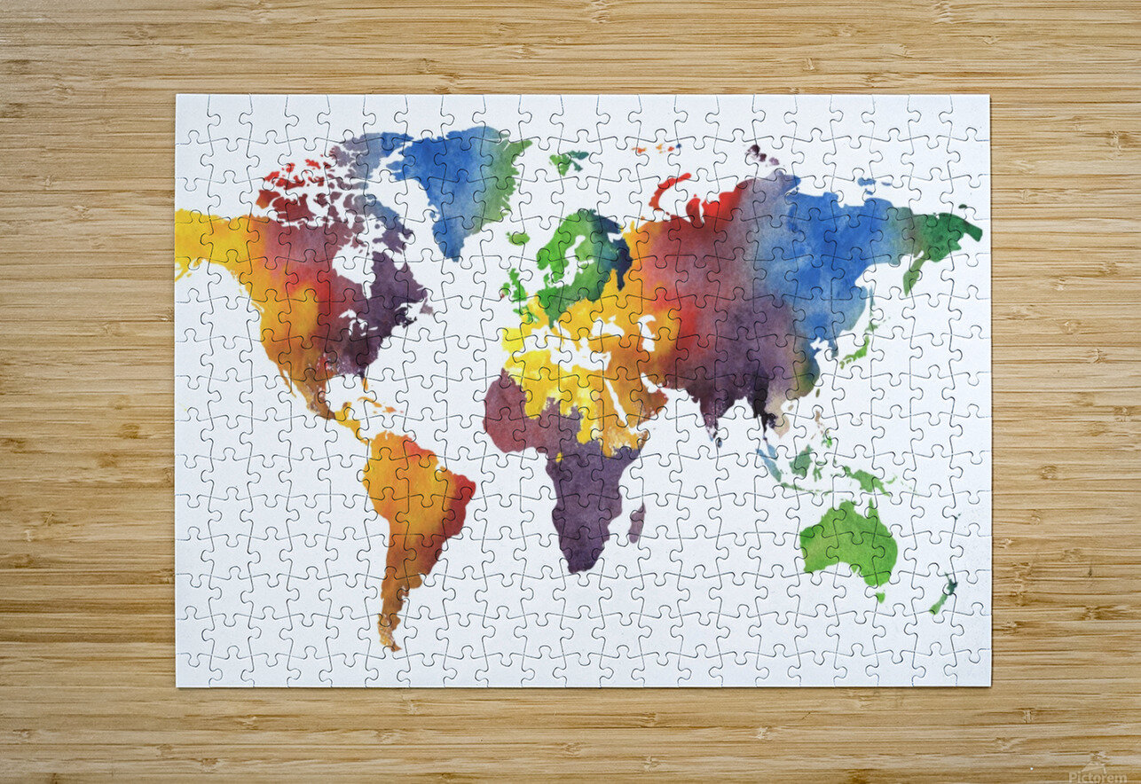 Colorful Map Of The World Watercolor  HD Metal print with Floating Frame on Back