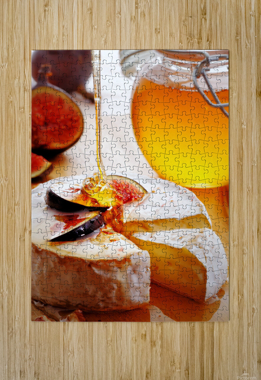 Brie Cheese with Figs and honey  HD Metal print with Floating Frame on Back