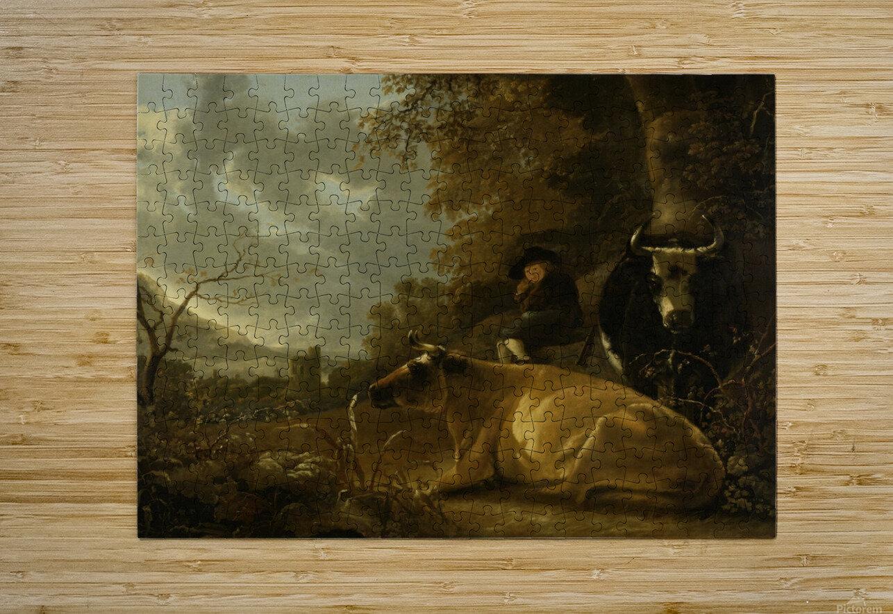 Landschap met koeien en herdersjongen  HD Metal print with Floating Frame on Back