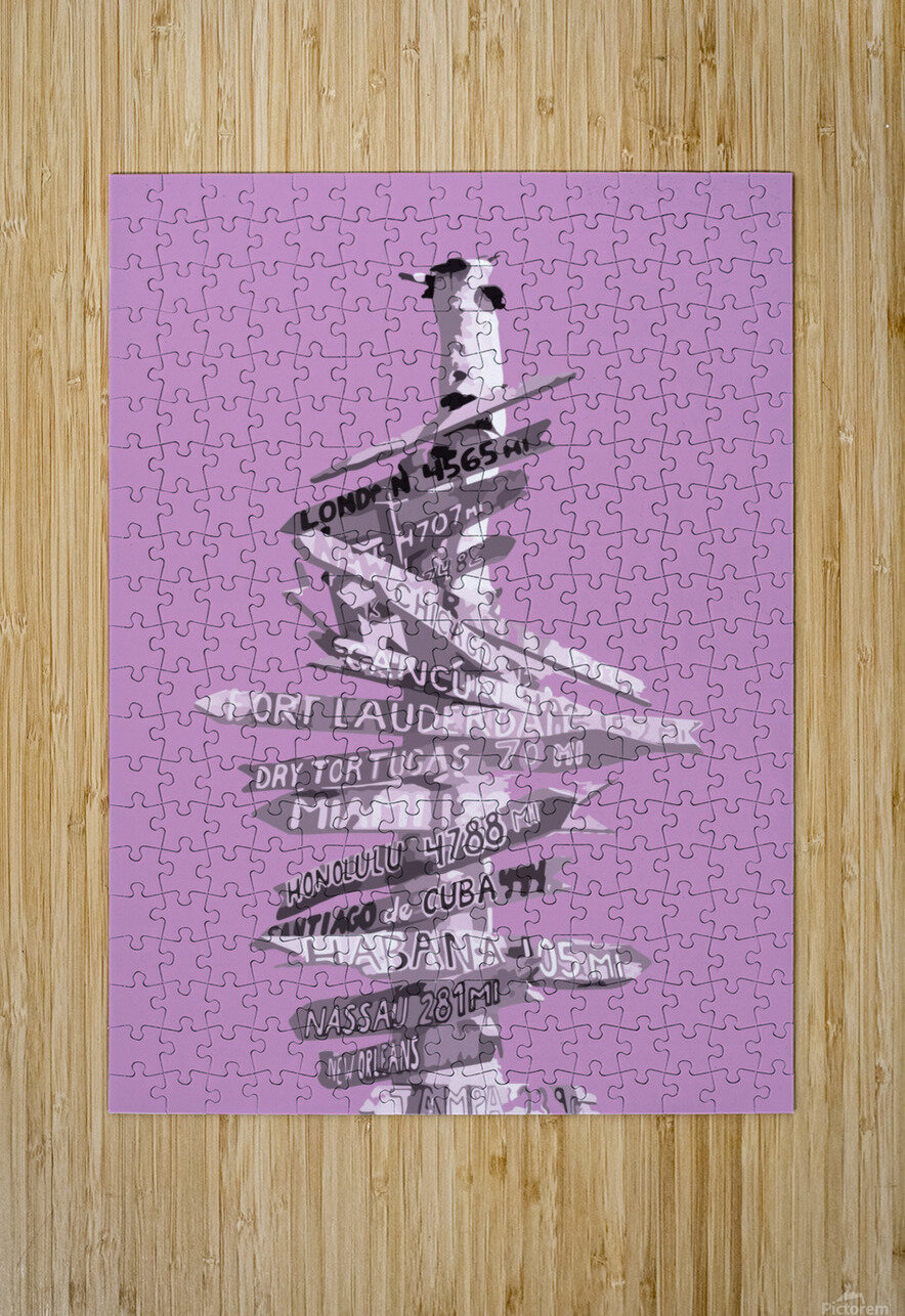 Graphic Art SIGNPOST | pink  HD Metal print with Floating Frame on Back