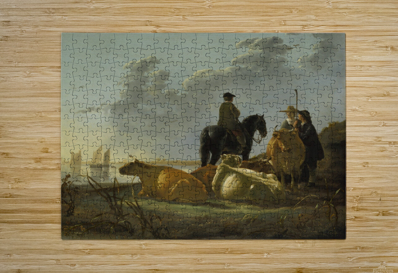 Peasants and Cattle by the River Merwede  HD Metal print with Floating Frame on Back