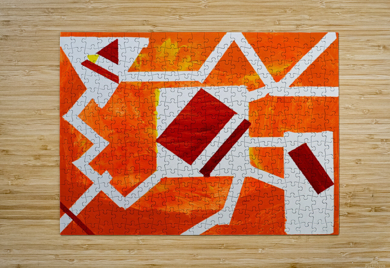 Geometric Orange. Jessica B  HD Metal print with Floating Frame on Back