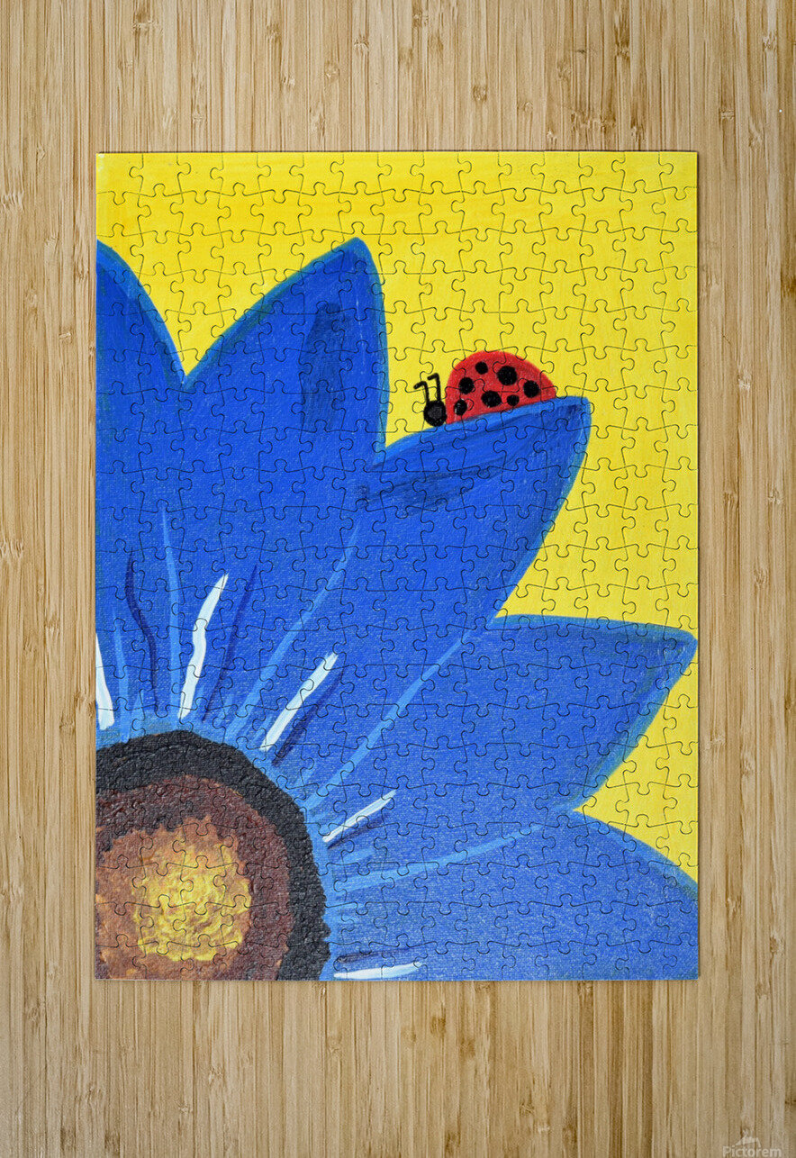 Blue Lady Bug. Maggie Z  HD Metal print with Floating Frame on Back