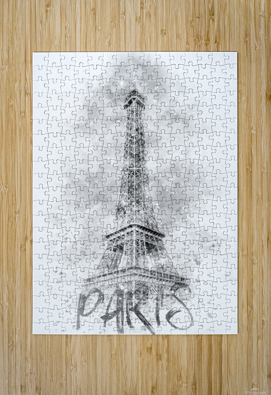 Monochrome Art EIFFEL TOWER | watercolor  HD Metal print with Floating Frame on Back