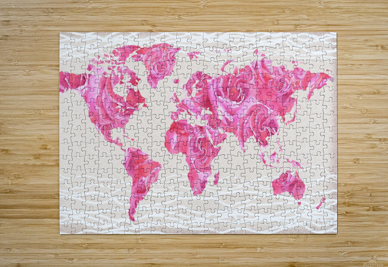 Pink Rose Petals Watercolor Map Of The World  HD Metal print with Floating Frame on Back