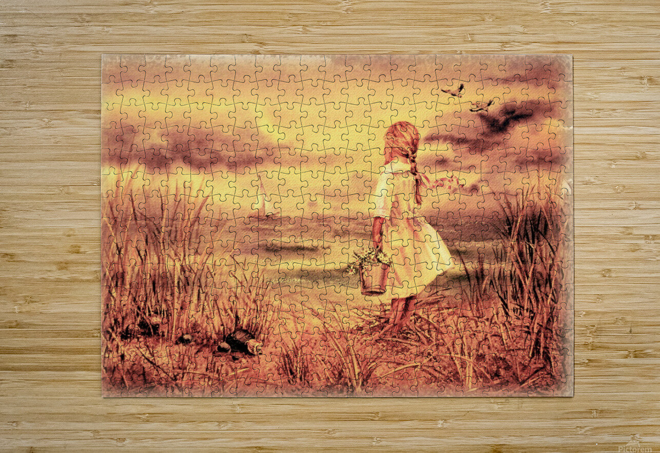 Vintage Watercolor Painting Girl And Ocean  HD Metal print with Floating Frame on Back