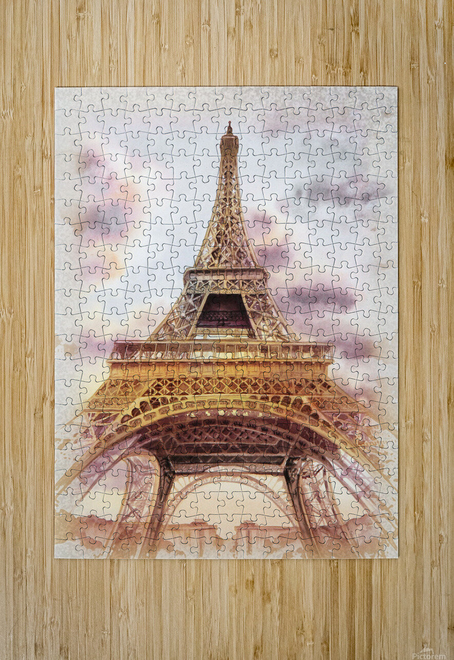 Vintage Paris Eiffel Tower Watercolor Painting  HD Metal print with Floating Frame on Back