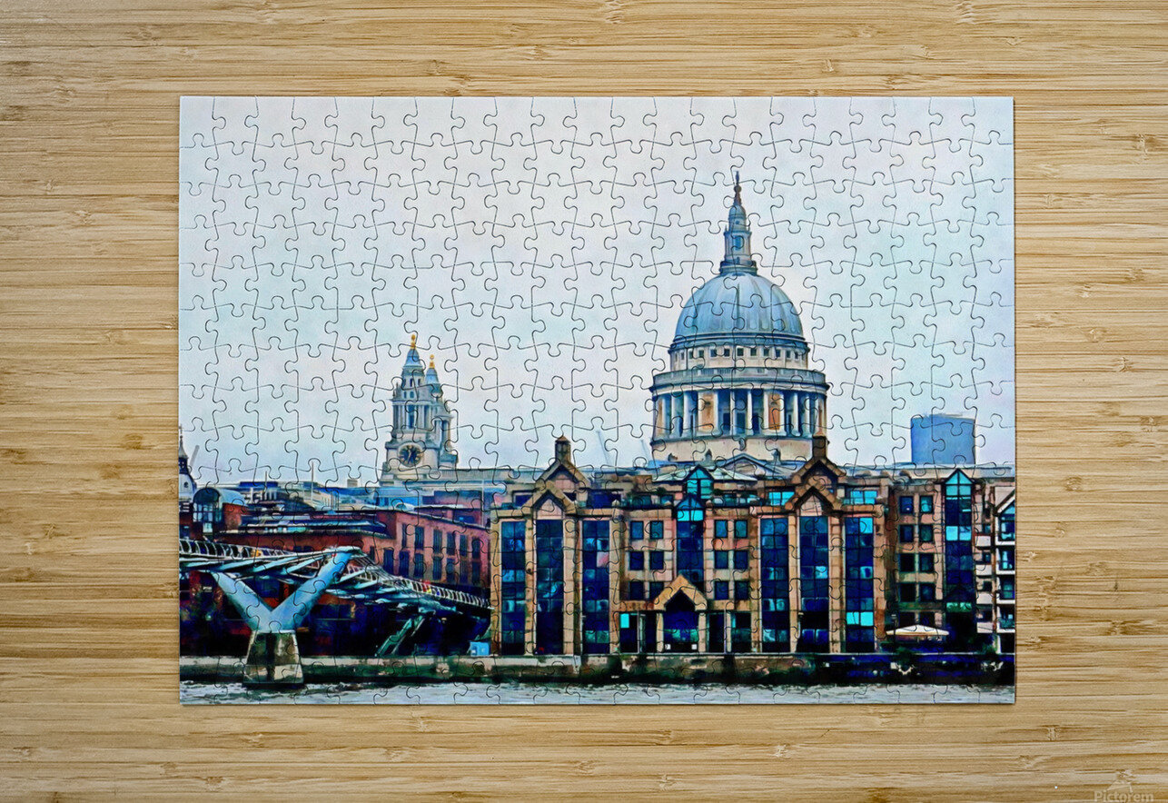 Millennium Bridge to St Pauls Cathedral London  HD Metal print with Floating Frame on Back