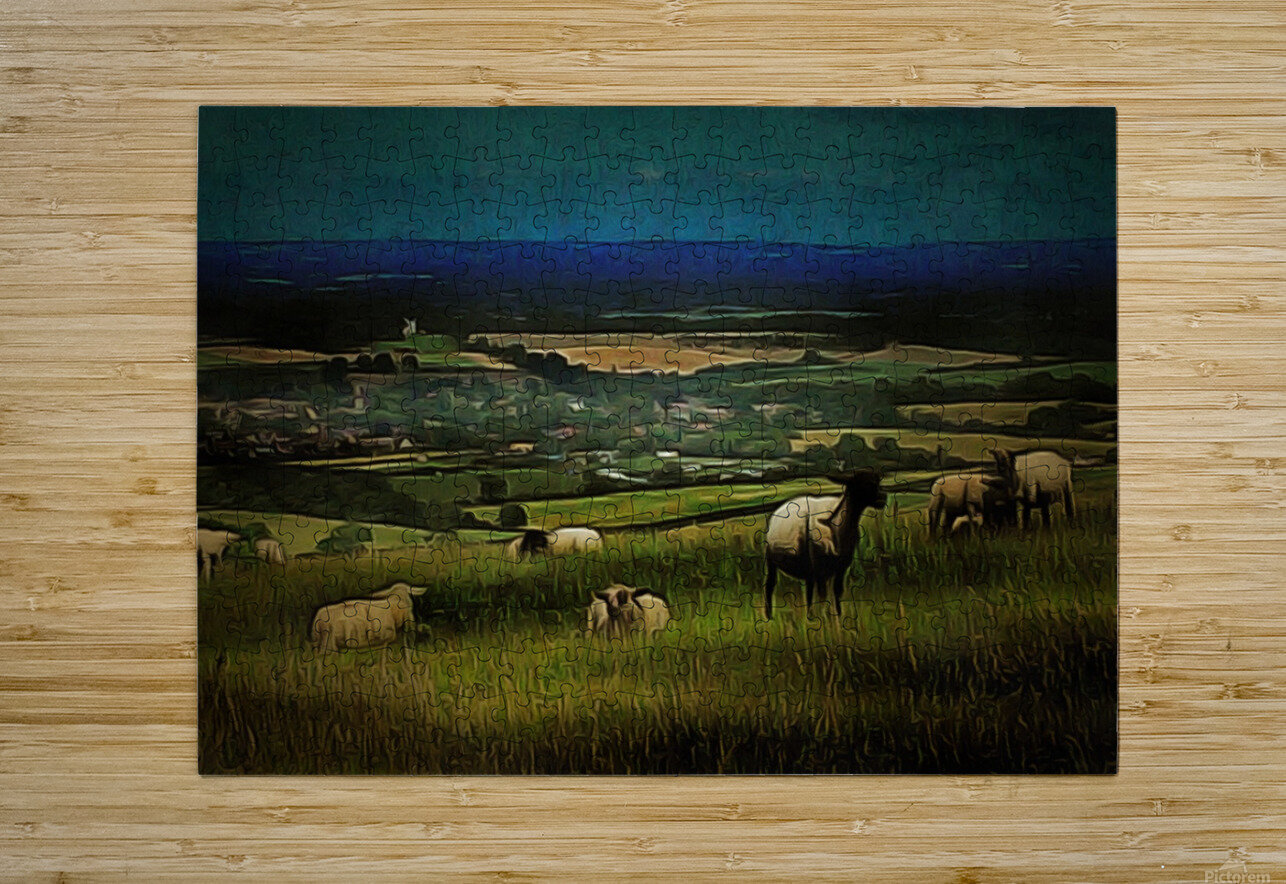 South Downs View  HD Metal print with Floating Frame on Back