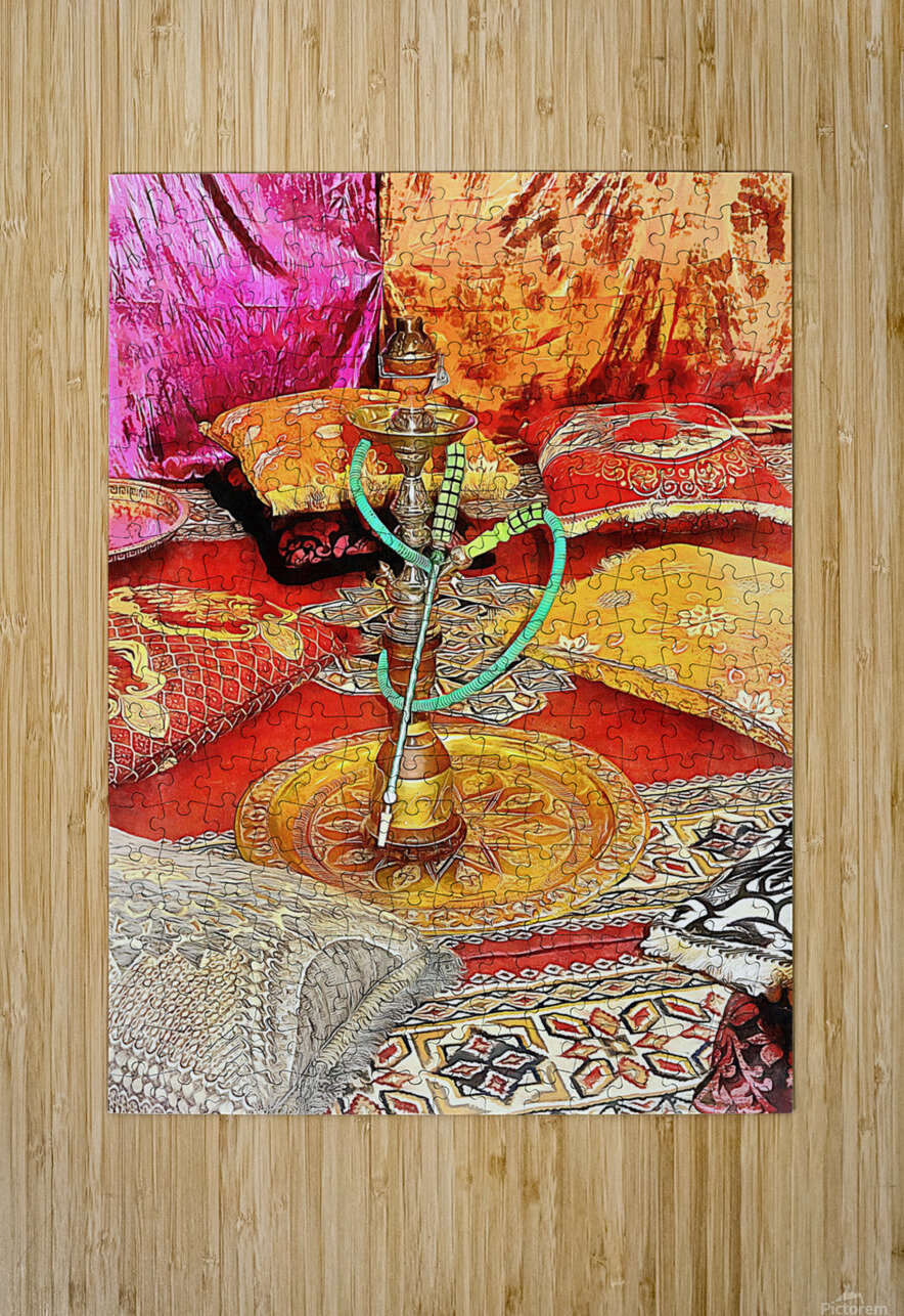 Exotic Oriental Hookah Pipe 2  HD Metal print with Floating Frame on Back
