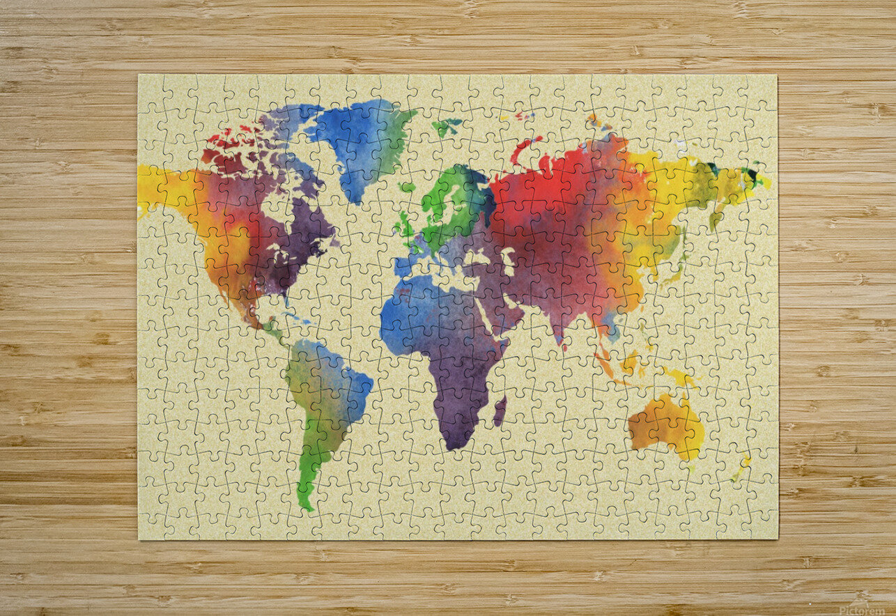 Hot And Vivid Watercolor Map Of The World  HD Metal print with Floating Frame on Back