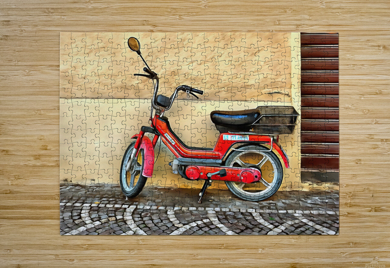 Red Piaggio Moped  HD Metal print with Floating Frame on Back