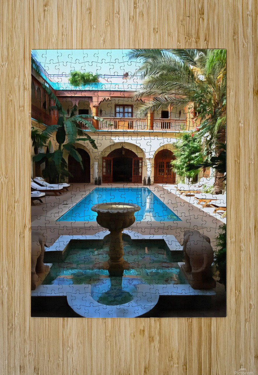 Riad Pool View Marrakesh  HD Metal print with Floating Frame on Back